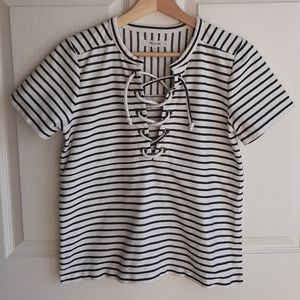 Madewell Striped Lace Up Boxy Tee Shirt Size Small